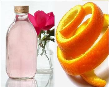 Orange peel and rose water
